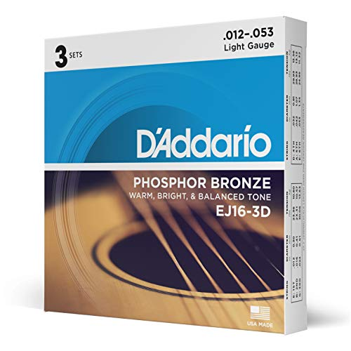 D'Addario EJ16-3D Phosphor Bronze Acoustic Guitar Strings, Light Tension - Corrosion-Resistant Phosphor Bronze, Offers a Warm, Bright and Well-Balanced Acoustic Tone - Pack of 3 Sets