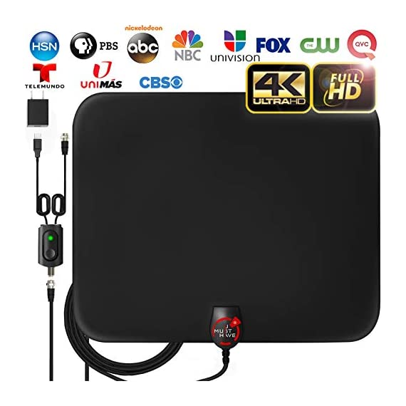 - 41F6LU95HQL - [2019 Latest] Amplified HD Digital TV Antenna Long 65-80 Miles Range – Support 4K 1080p & All Older TV's Indoor Powerful HDTV Amplifier Signal Booster – 18ft Coax Cable/USB Power Adapter