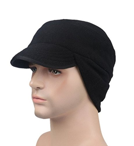 Lanzom Unisex Winter Hats Outdoor Windproof Fleece Earflap Ball Hat Warm Hat (Cold Weather Ball Cap)