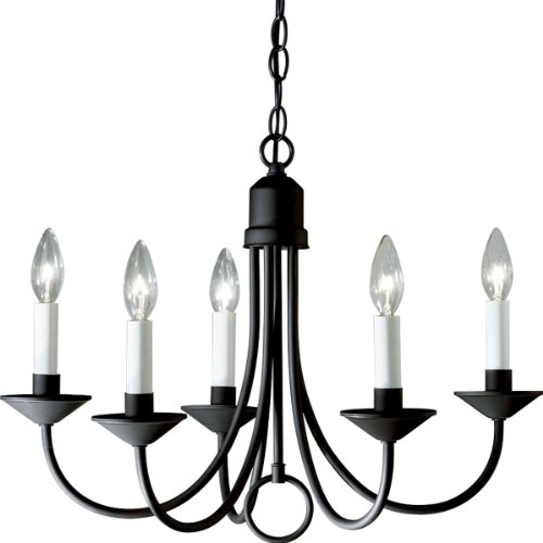 Lake Traditional Chandelier - Progress Lighting P4008-31 5-Light Chandelier, Textured Black