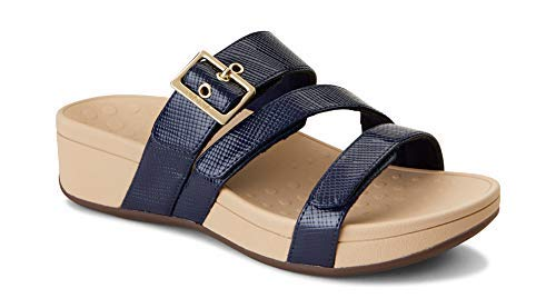 Vionic Women's Pacific Rio Platform Sandal - Ladies Adjustable Slide Sandal with Concealed Orthotic Arch Support Navy Lizard 6 W US
