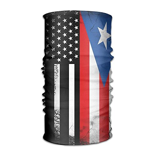 Men&Women American Puerto Rico Flag Sports&Casual 12-in-1 Bandanna Headwear Scarf Wrap Neck Gaiters Headband Helmet Liner Balaclava for Running,Yoga,Hiking