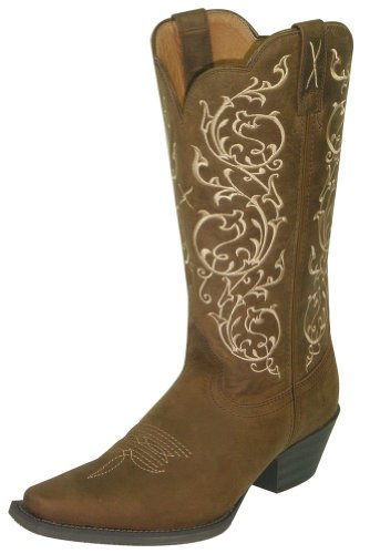 (Twisted X Womens Saddle Leather 12in Distressed Western Cowboy Boots 6.5B)