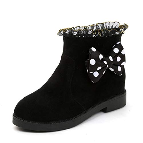 REYO Women Waterproof Winter Boots Bowknot Dot Lace Increase Flock Thick Round Toe Casual uugs Walking Shoes ()