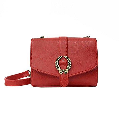 Demiawaking Women Retro Mini Bag Girl Shoulder Crossbody Messenger Chain Handbag(Brown) Red