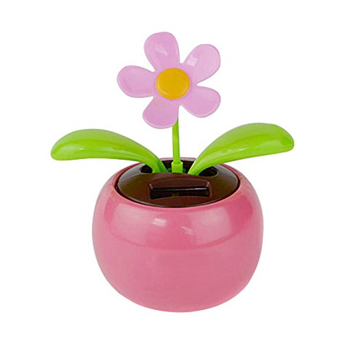 Glumes Solar Powered Dancing Toy Sunflower Swaying Flower for Car Decoration Happy Valentine Day Happy Halloween Day (Pink)