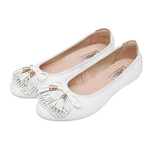 Cómodos de Cuero de las Ocasionales de la Manera Mocasines para mujer Buena Compra y no son Caros Para Zapatos Salvajes(Por favor pulse la imagen de la izquierda para determinar la longitud de pie) Blanco