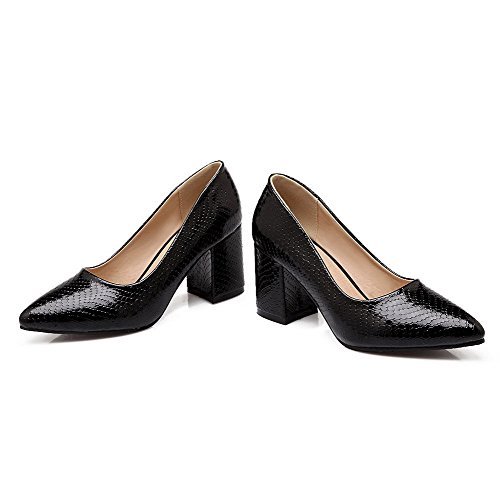 Odomolor Women's Pointed-Toe Pull-On PU Solid Kitten-Heels Pumps-Shoes, Black, 38