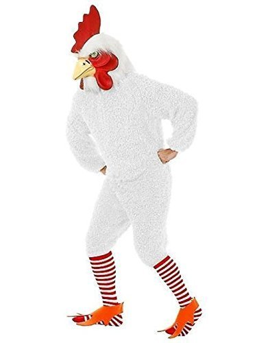 White Rocking Rooster Funky Chicken Adult Costume Jumpsuit Bird Soft Fur & Mask
