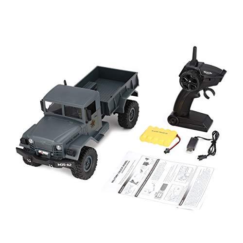 FY001A 2.4Ghz 1/16 4WDオフロードRC軍用トラッククライマーRC車のリモートコントロール子供のためのフロントライト付きおもちゃギフト(:グレー)