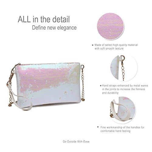 Bolso de mujer Bonita hombro Miss mano Blanco Lulu de Bolso para Bolso Rosa qw0w8tB