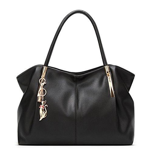 Bolso De Hombro Grande De La Capacidad Del Bolso De Las Mujeres Bolso De Cuero Del Bolso De Messenger Bag Simple De La Moda Black