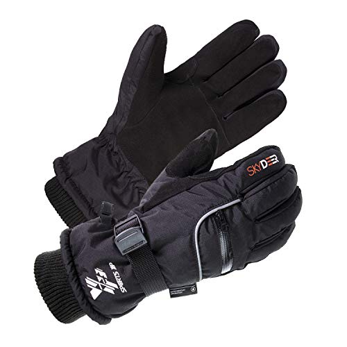 SKYDEER 3M Scotchgard Waterproof Genuine Deerskin Suede Leather Ski Gloves (SD8650T)