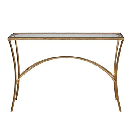 Uttermost 24640 Alayna   48u0026quot; Console Table, Antique Gold Leaf Finish  With Clear Beveled