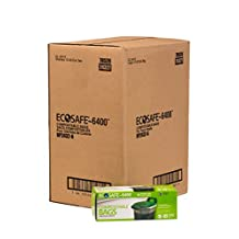 EcoSafe-6400 RP2432-6 Retail Pack Tall Kitchen Certified Compostable Bag, 13G, Green Case of 24 Retail Packs of 12 Bags