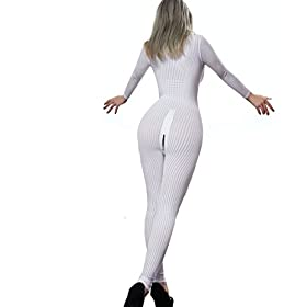 - 41F6OawN2PL - Kingmistres Sexy Bridal White Front Zip Vertical Stripes Spandex Zentai Catsuit Bodysuit Night Club Costume