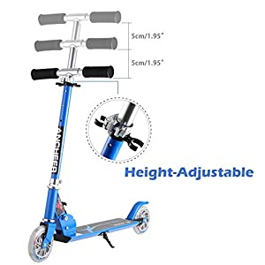 Ancheer Kids Scooter with LED Light Up Wheels | Children Foldable Adjustable Height Mini Aluminum Alloy Push Scooter, Gift for Boys Girls 3 to 8 Years Old (Blue)