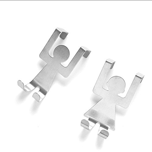 2Pcs Stainless Steel Lovers Shaped Hook Kitchen Hanger Clothes Storage Rack Tool (Silver)