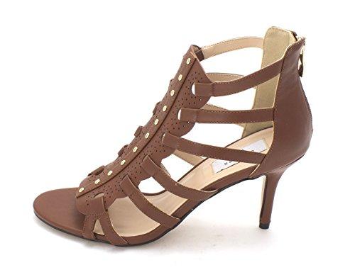 Chelsea & Zoe Womens Panache Open Toe Casual Strappy Sandals Cognac Burnish x9mFV3hNm