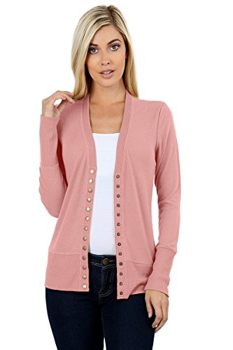 Sportoli Womens Long Sleeve Knit Snap Button Sweater Cardigan Regular & Plus - Dusty Rose (Size 2X)
