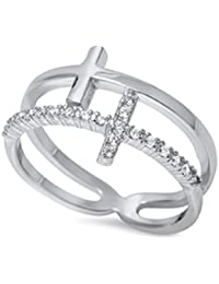 Sterling Silver 925 Double Sideways Cross Ring with Cubic-Zirconia Sizes 4-10