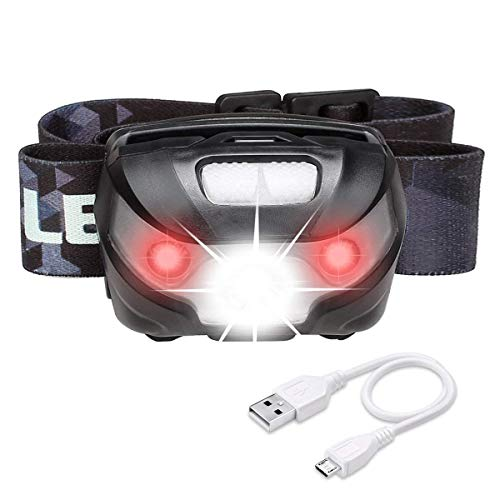 LE LED Headlamp Flashlight Rechargeable Headlights, USB Cable Included Red Light 5 Modes Running Jogging Hiking