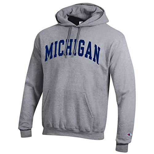 - Champion NCAA Men's ECO Power Blend Hooded Sweatshirt-Classic Heather Grey-Michigan Wolverines-XL