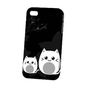 LJF phone case Case Fun Apple iPhone 4 / 4S Case - Vogue Version - 3D Full Wrap - Black Cat
