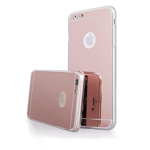 """Coque etui de protection iphone 6 6s silicone gel semi rigide effet miroir gold rose + film d'écran BACK CASE """"MIRROR"""" iPhone 6 4.7"""" iphone 6s 4.7 gold rose"""
