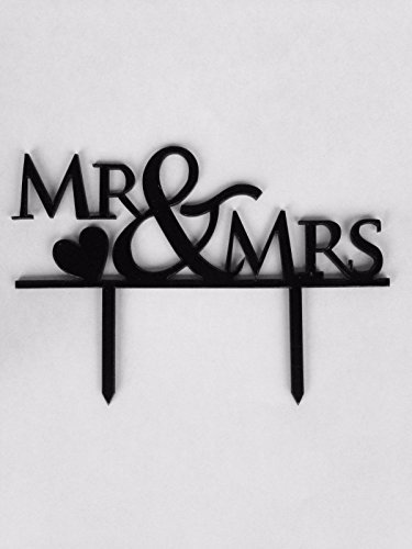Buy throw Mr. & Mrs. Cake Topper, Custom Wedding Cake Topper With The Heart Design, Cake Decorating Supplies, Cake Toppers For Couples Black -
