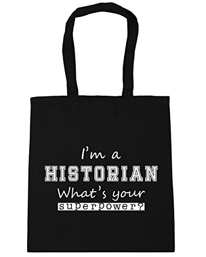 HippoWarehouse I'm A Historian What's Your Superpower? Tote Shopping Gym Beach Bag 42cm x38cm, 10 litres Black