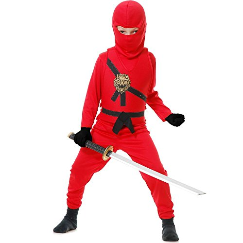 Charades Kid's Child's Ninja Avenger Costume Childrens Costume, red, Small