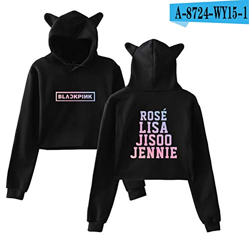 c2b24774 Kpop Blackpink Hoodies Women Team Member Member Name Printed Sweatshirt  Korean Style Blackpink Fans Sexy Navel
