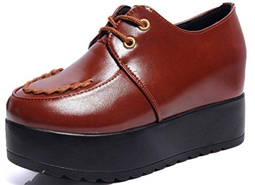Schoenen Met Verborgen Hak Sneakers, Wiggen Hoge Hakken Plateauzolen 3 Kleuren Maat 5-8 Bruin