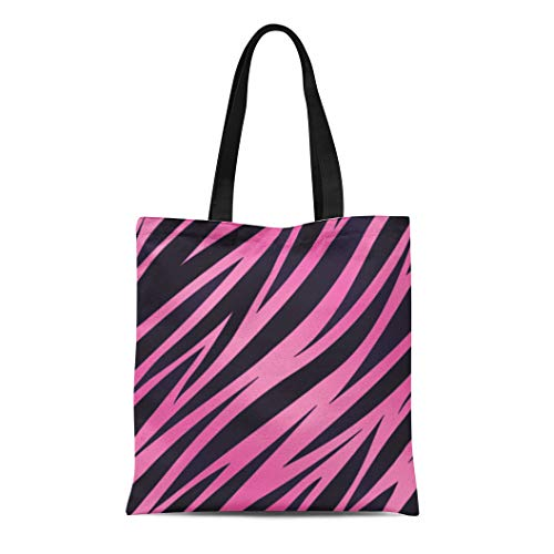 (Semtomn Canvas Tote Bag Pattern Pink and Purple Zebra Striped Seamlessly Repeatable Girly Durable Reusable Shopping Shoulder Grocery Bag)