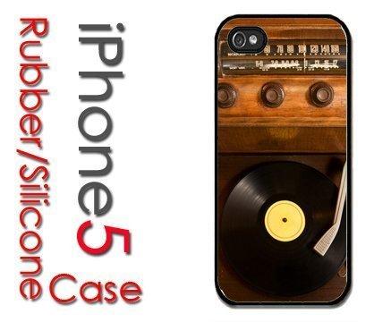 iPhone 5 Funda de silicona de goma - Old School Vintage tocadiscos ...