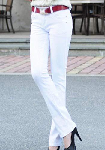 Casuales Micro Bolsillos Skinny Jeans Acampanados Mujer Color Schwarz Fit De Casual Pantalones Slim Con Botón Ropa Sólido FxZBqvOH