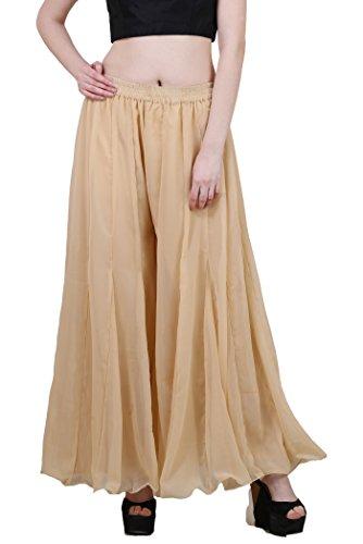 Tunic Silk Georgette - Shararat Women's Palazzo Pants Georgette Loose Plain Flared High Waist Sharara (Beige)