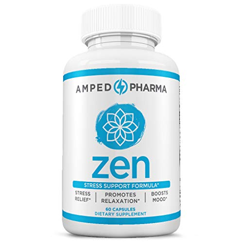 Anti-Anxiety Formula – Enhance Mood Manage Stress – Scientifically Formulated for Anti-Anxiety – Natural, Non-GMO & Gluten-Free – Premium 60 Veggie Capsules – Amped Pharma Zen