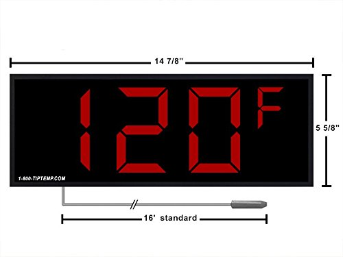 Large Display Thermometer with 4 Digits for Extra Large Display 3 Digit Model Large LED Temperature Display Thermometer Displays in /°C or /°F