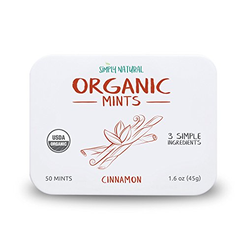 Simply Natural Organic Breath Mints, Cinnamon, Powerful Fresh Breath Natural Candy, 3 SIMPLE INGREDIENTS, USDA Certified Organic, 50-Piece Tins, (Pack of 3) 150 Pieces