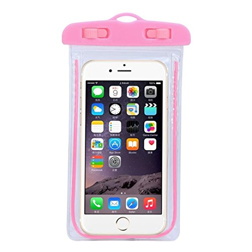 Universal Waterproof Case, TOOPOOT Travel Swimming Waterproof Bag Case for iPhone 6 6S Plus SE 5S Galaxy S7 (pink)