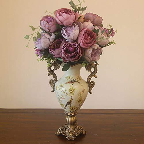 Mountain head アメリカの牧歌的な国レトロ装飾的な大きな花瓶創造的な樹脂の高い脚の花瓶ヨーロッパのリビングルームの寝室 Mountain head (Size : A) B07QG14SWP  A