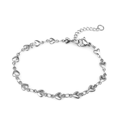 Loralyn Designs Stainless Steel Heart Love Bracelet Silver Adjustable Chain 7.25-8.5 Inches