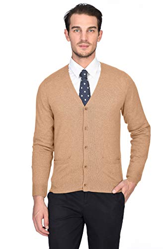 State Cashmere Men's 100% Pure Cashmere Button Front Long Sleeve Cardigan Sweater (X-Large, Camel) ()