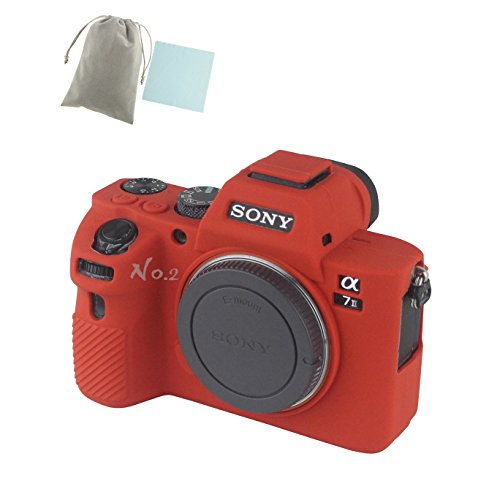 No.2 Warehouse Soft Silicone Armor Skin Rubber Protective Camera Case Compatible with Sony Alpha A7ii A7R2 A7Rii A7sii Camera (Red)+ a Piece of Clean Cloth