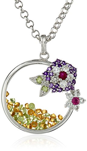 Ruby Lane Jewelry (Kenneth Jay Lane Fine Jewelry Sterling Silver, Peridot, Ruby and Amethyst Topaz Citrine Flower Pendant)