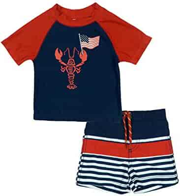 36b917730ea4a KIKO & MAX Infant Boys Patriotic USA Crab Flag Swim Suit Rash Guard & Swim  Trunks