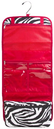 Zebra Cosmetic Makeup Organizer Hanging Bag – Red Trim, Bags Central