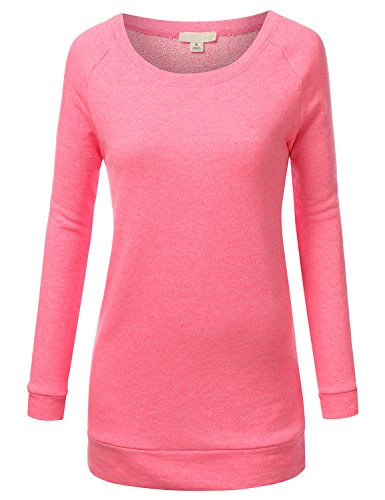 J.TOMSON Women's Long Sleeve Raglan Crewneck Tunic Sweatshirt MELANGEPINK - Raglan Crewneck Sleeve Long